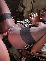 Dressy blonde in mock hold-up pantyhose gets deepthroated and pussy pounded