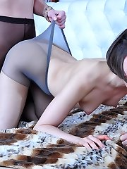 Pantyhose wearing lesbos rub their nyloned behinds and lap up raw cooters