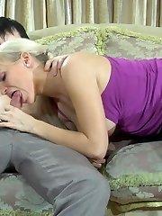 Tempting blondie in dark sheer-to-waistline stocking going for xxx doggie