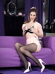 Sample Stella's mind-blowing figure with thick tits and long legs in sheer black tights as she gives you a hot strip taunt.