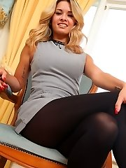 Amazing blond Danni in very short secretary dress