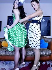 Dolled-up lezzies in polka-dot dresses and sheer pantyhose eat wet pussies