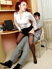 Steaming hot mature babe in black pantyhose being obsessed with hard cock