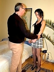 Strict miss paddles the bare ass of guy in pain