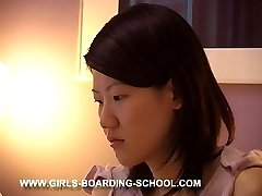 Bedroom caning for cute chinese teen