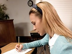 Kirra Lynne thinks she can get away with cheating on a test. Isis Love catches her in the act...