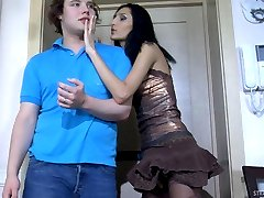 Lustful chick readily spreading a guys butt cheeks with her huge strap-on