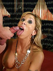 Big tits milf Morgan showing off her juicy round racks to lure a hunk into fucking her