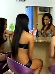 A group of asian lesbians making hot lesbian sex with strapon dildos and non-stop oral actions