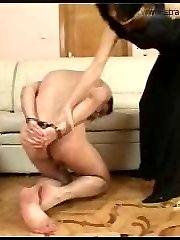 Hot mistress rams her monstrous black strap-on into her boy toys hairy ass