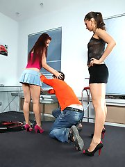 Shy student lets his kinky classmates explore his asshole with a huge strapon