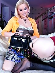 All dolled-up and made-up sissy test-drives a new strapon toy of his girl