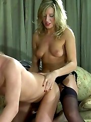 Heated chick and her eager boyfriend ready for hot strap-on fucking fest