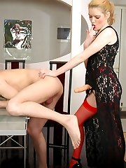 Hottie with strap-on is about to drill the ass of her man-bitch non-stop
