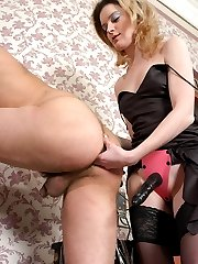 Horny guy falling a victim of babes scam to get his ass for strap-on fuck
