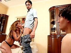 Hard female domination session ends up with a shameless scene of cuckolding
