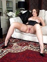Classy Sophia strips in black girdle and seamed nylons!