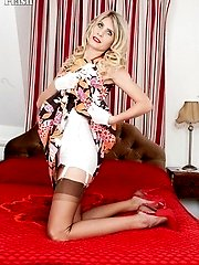 Bianca stripping from her full skirted dress to vintage open cup bra, girdle and chocolate...