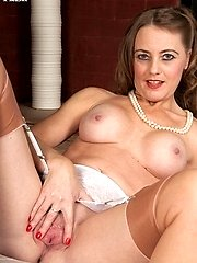 Tricia strips down to her satin panties garterbelt and lovely vintage nylons!