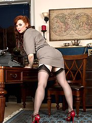 Vivi the cute redhead temp gets into some sex play, stripping out of her skirt suit getting her...