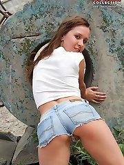 Girl wearing jeans shorts look hot
