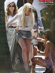 Lindsey Lohan upskirting panties and pussy