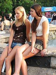 Girls secretly show upskirt public
