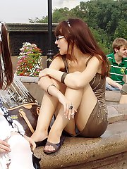 These upskirt girls are damn hot