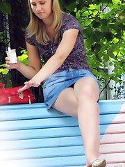 Sweet blondie in denim upskirt pics