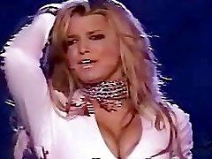 Bimbo blonde Jessica Simpson in a corset