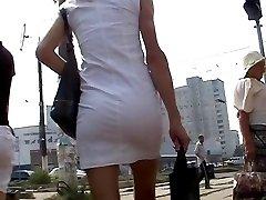 Luxurious blonde nice shorts upskirt