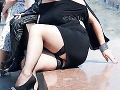 Flirty black stockings upskirt