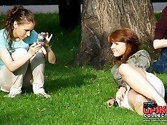 Pretty girls filmed with upskirt spy cam