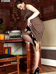 Tina's in her home office wearing open bottom girdle and vintage nylons!