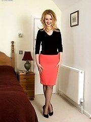 Racy Katie in black bullet bra, sheer panties and ff nylons!