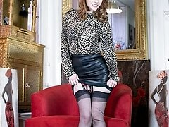 Yummy ginger-haired Ella in racy blouse and leather pencil skirt, sheer black vintage ff nylons and lacy lingerie!