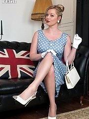 Holly in chic dress and and vintage nylons!