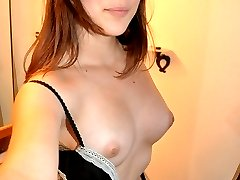 Lovely brunette exgirlfriend Nena James stripping and posing naked in the bathroom