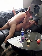 Home cam films a busty blonde having sex with her boyfriend