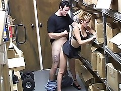 Hidden cam catches a blonde at work fucking her co-employee