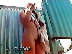 Sexy girl come to beach cabin to change she's panties