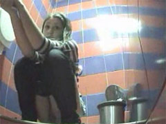 Unlucky girls get filmed peeing in toilet