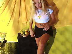 Blonde babe caught undressing by voyeur cam