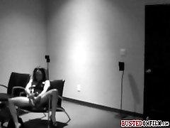 Babe busted on CCTV while masturbating
