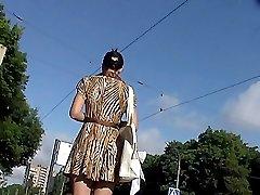 Brunette outdoor upskirt