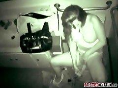 Busty GF caught on CCTV while masturbating