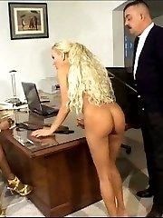 Black office girl under the cane