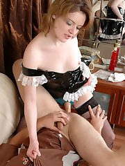 Salacious chick practicing hot positions while strap-on fucking eager guy