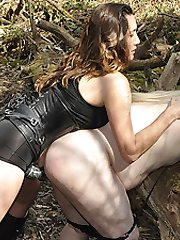 Strapon Jane and Tiff Naylor fuck this naughty blonde TGirl slut out in the woods