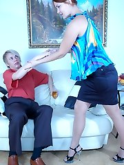 Bold gal treats her anal-loving boy to a strapon ramming his facehole and ass